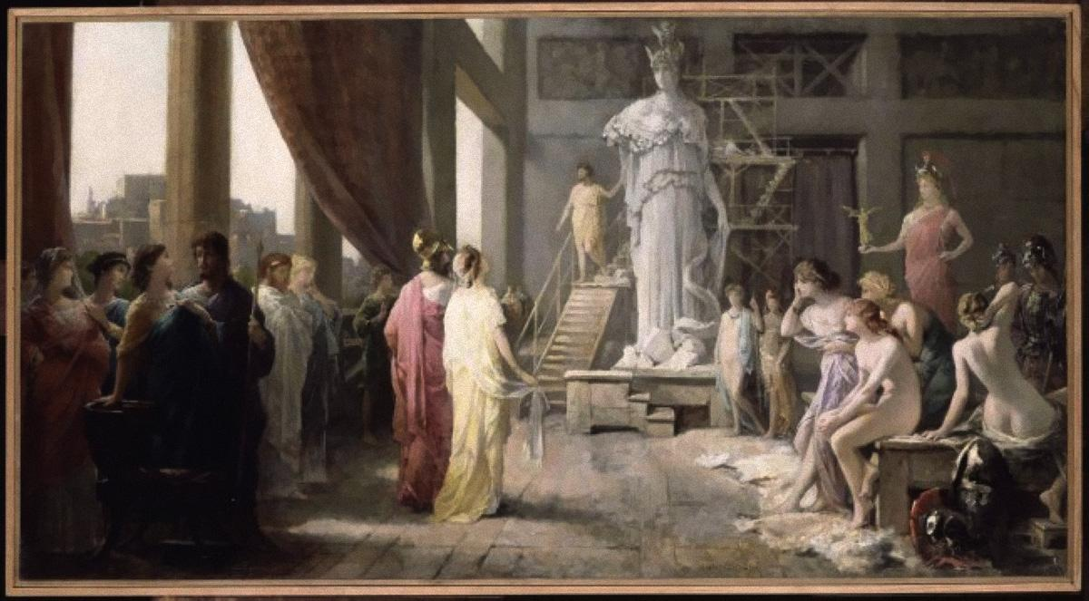terrapapers.com_ Pericles and Aspasia visit Phidias workshop _painting by Hector Le Roux, 1829-1900