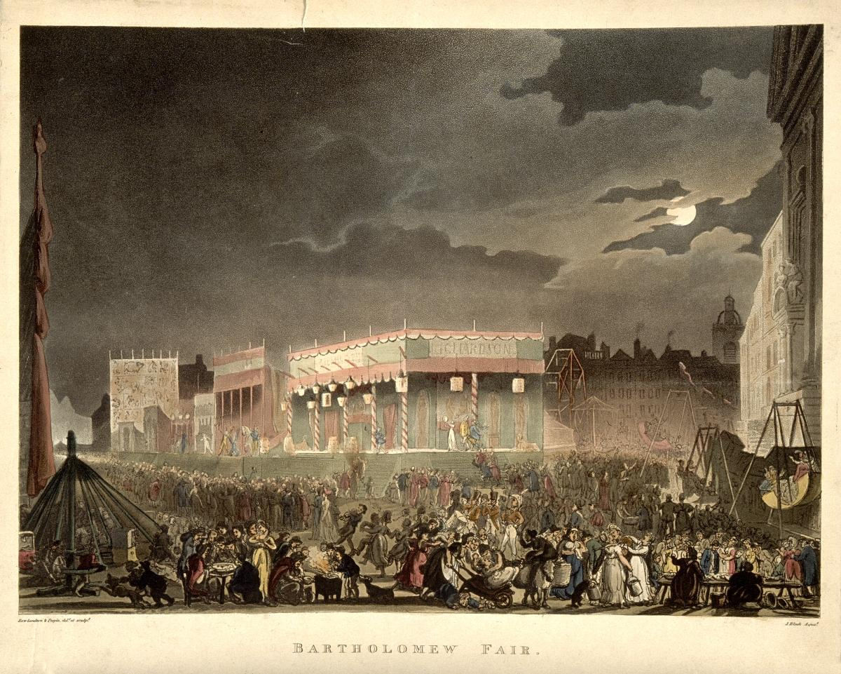 Bartholomew Fair London: scene of night-time revelry at the